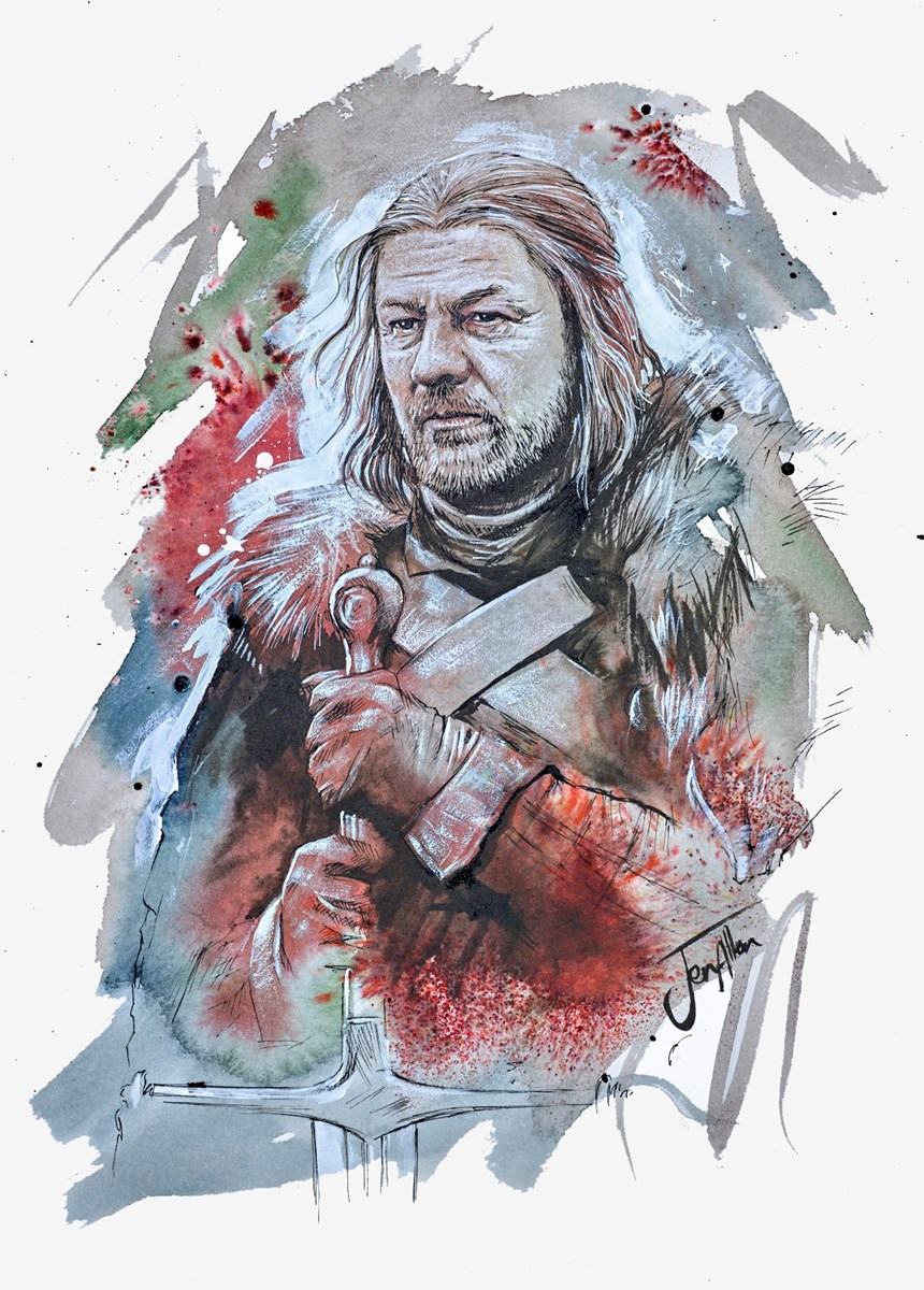 Ned Stark Sketch by jen allen -  sized 10x14 inches. Available from Whitewall Galleries
